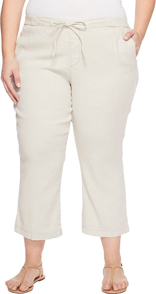 NYDJ Plus Size Women's Plue Size Drawstring Ankle Pants in Stone Stone 22W 26