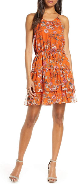 Chelsea28 Women's Tiered Chiffon Fit & Flare Dress - Size Large - Orange Floral