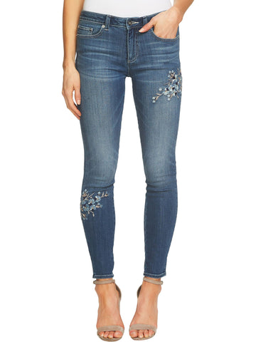 CeCe Floral Embroidered Skinny Jeans