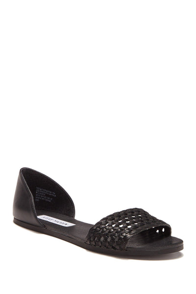 Steve Madden Tess Leather Sandal, BLACK LEAT, 6.5