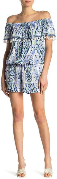 Hale Bob Off-The-Shoulder Romper Blue size SMALL New