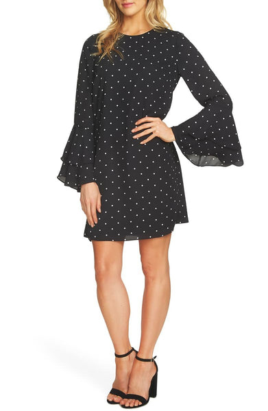 CECE Women Bell Sleeve Polka Dot Dress | Size - 6 | Black