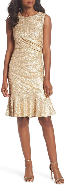 Eliza J Petite Women's Sequin Ruffle Hem Sheath Dress, Size 8P - Metallic