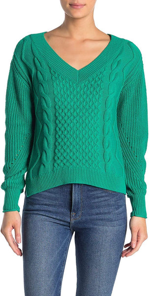 Abound Women Cable Knit V-Neck Sweater | Size - Medium | Color - Green Lake