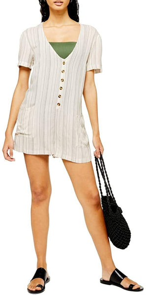Women's Topshop Stripe Button Front Cover-Up, Size X-Small - Beige