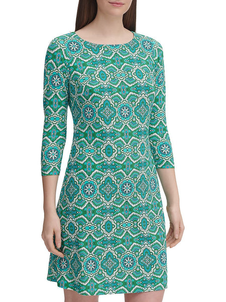 TOMMY HILFIGER Womens Knee Length Shift Dress - Size 18, Paisley Green