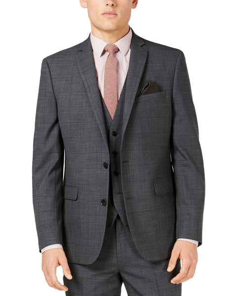 Bar III Men's Slim Fit Active Stretch Windowpane Sharkskin Suit Jacket