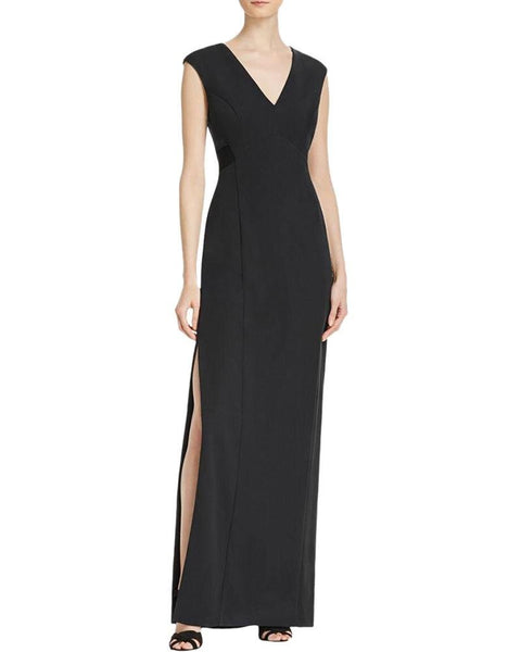 Aidan by Aidan Mattox Women's Mesh V Neck Evening Dress Gown