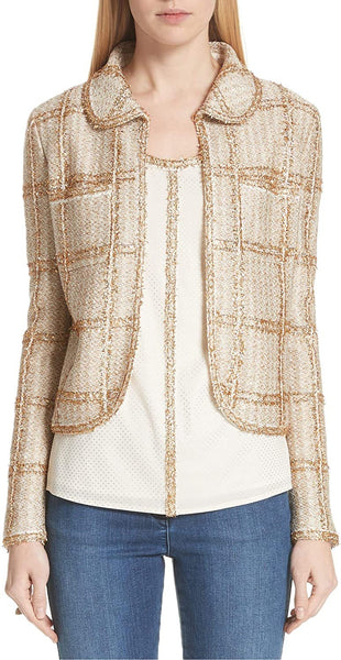 St. John Women's Collection Goldenflag Plaid Knit Jacket, Size 12 - Beige