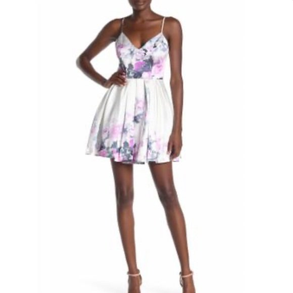 Jump Women's Floral Fit & Flare Dress - Size 5/6, Purple