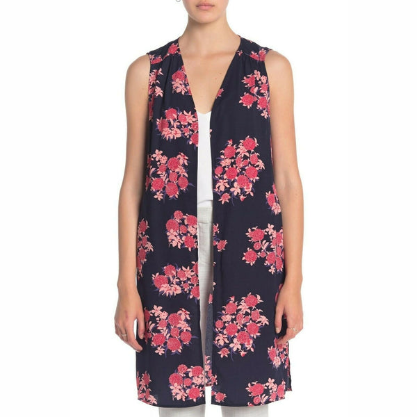 Pleione Open Front Printed Duster, Size: Medium, Navy Pink