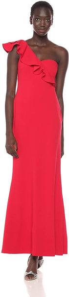 Calvin Klein Women's One Shoulder Ruffle Sleeve Gown