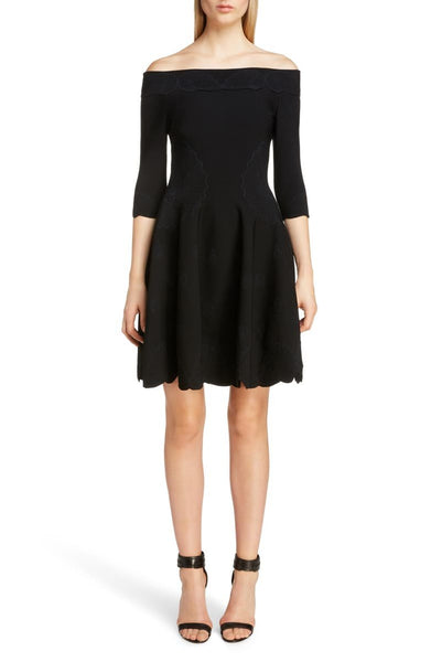 Alexander McQueen Scalloped Jacquard Evening Cocktail Dress, Size Small - Black