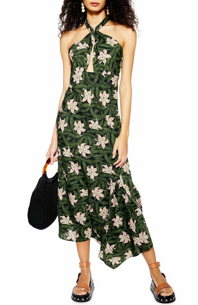 Women's Topshop Hibiscus Halter Midi Dress, Size 4 - Green