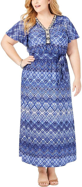 NY Collection Womens Plus Beaded Printed Maxi Dress Blue 1X