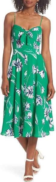 Eliza J Women's Tie Front Midi Dress, Size 14 - Green