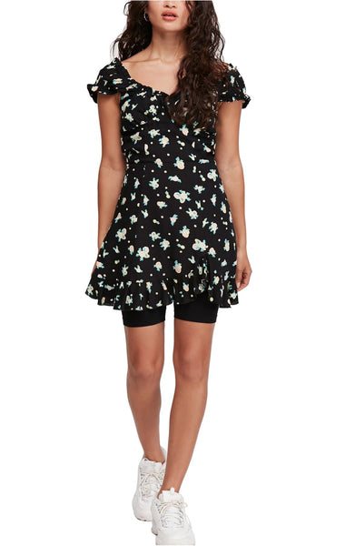 Free People Like a Lady Print Mini Dress, Size Small, Black