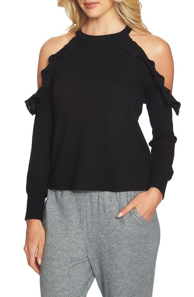 1.STATE Women Long sleeves Cozy Cold Shoulder Knit Top | Size - Medium | Black