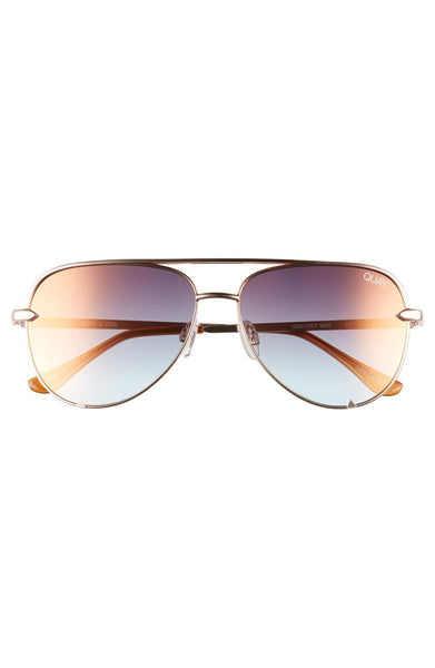 QUAY X Desi Perkins High Key Mini 57mm Aviator Sunglasses - Rose/Cooper