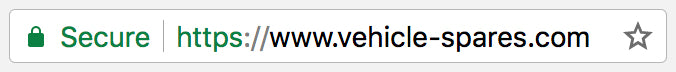 Secure website address bar example SSL