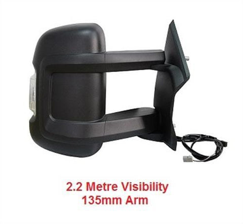 Fiat Ducato Van 2006-2014 Door Mirror Electric Heated Type With Black Cover - No Temp Sensor (Medium Arm - 135mm Long) Driver Side R