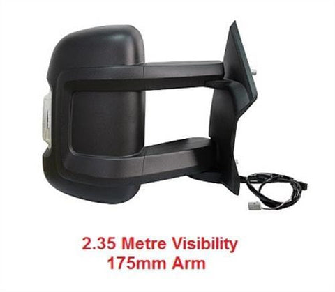 Citroen Relay Van 2006-2014 Door Mirror Electric Heated Type With Black Cover - No Temp Sensor (Long 175mm Arm Length) Driver Side R