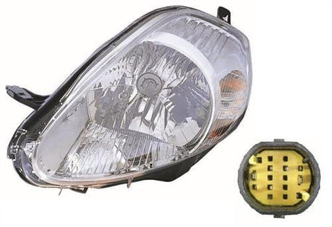 Fiat Grande Punto 5 Door Hatchback  2006-2010 Headlamp Chrome 7 Pin 14 Hole Type (2006-2008) Passenger Side L