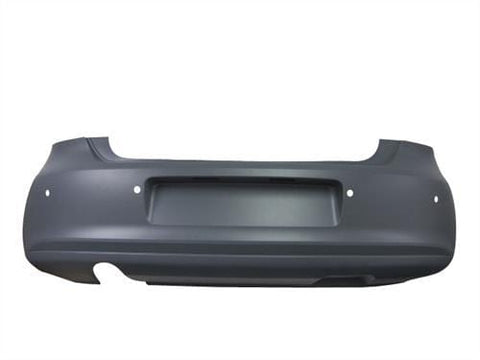 Volkswagen Polo 3 Door Hatchback  2009-2014 Rear Bumper With Sensor Holes & Exhaust Trim - Primed (Not Bluemotion)