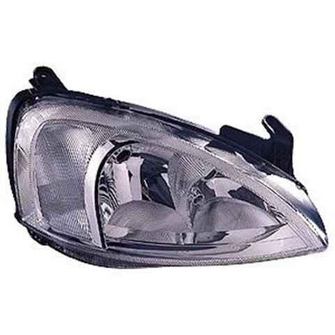 Vauxhall Corsa 5 Door Hatchback  2001-2003 Headlamp Chrome Type With Pattern Lens Over Indicator Driver Side R