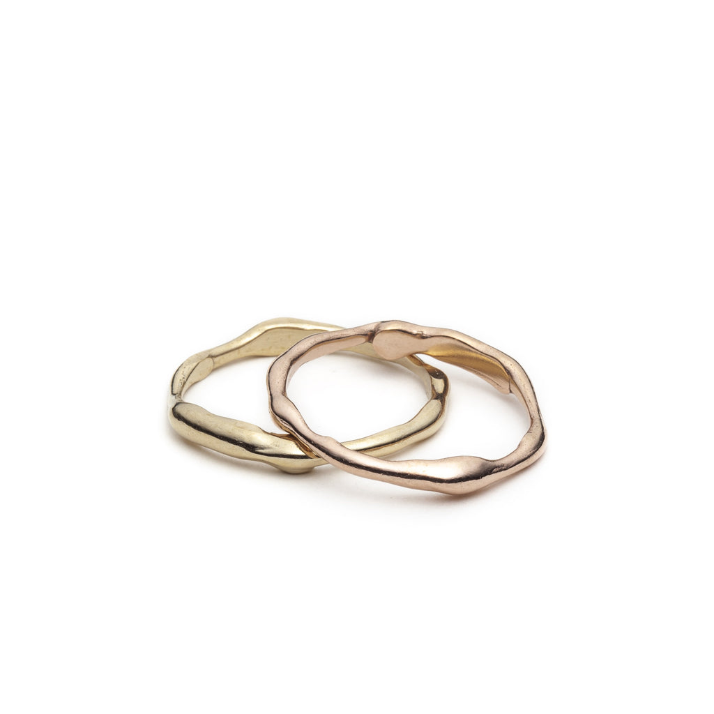 10kt Pink Or Yellow Gold Wavy ring - Cynabar