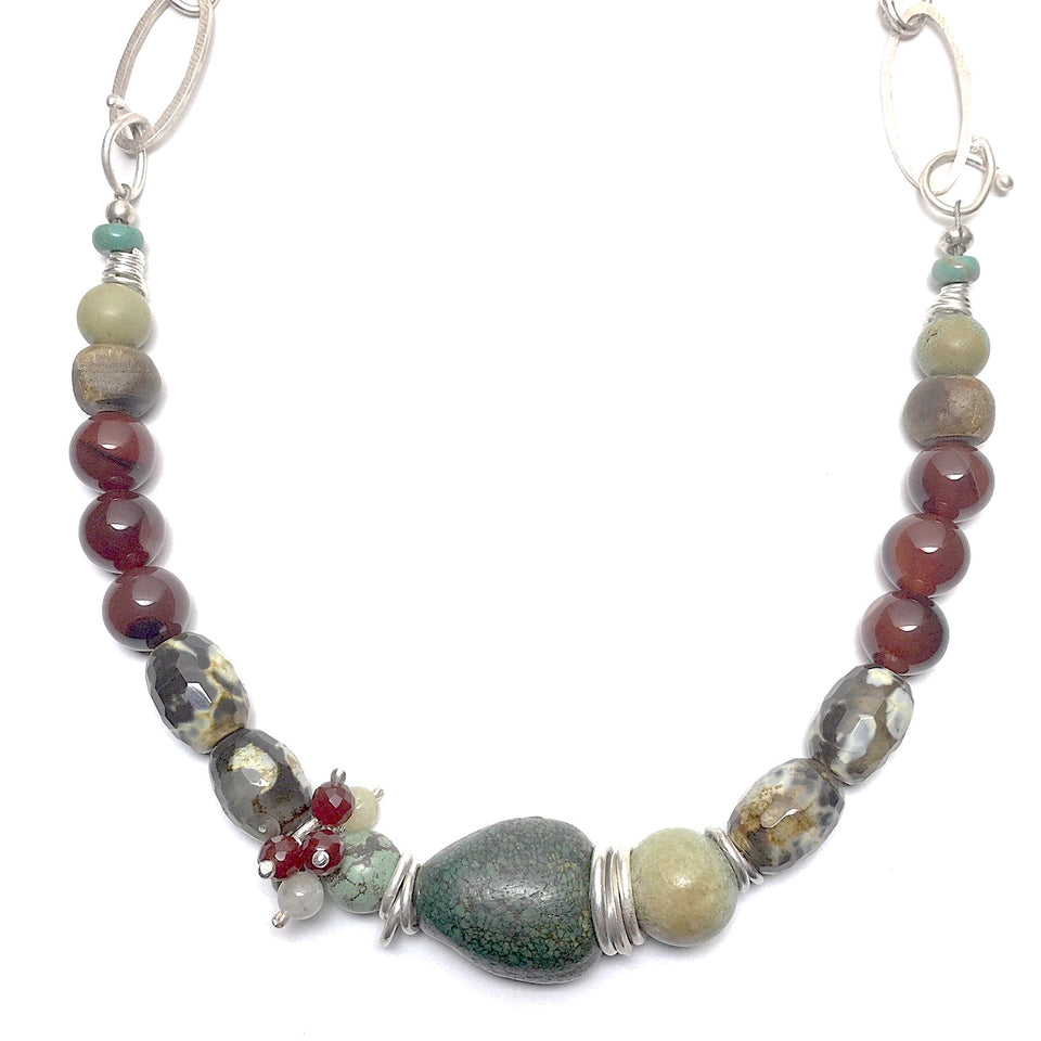 Turquoise, Agate and Silver Necklace - Cynabar Boutique