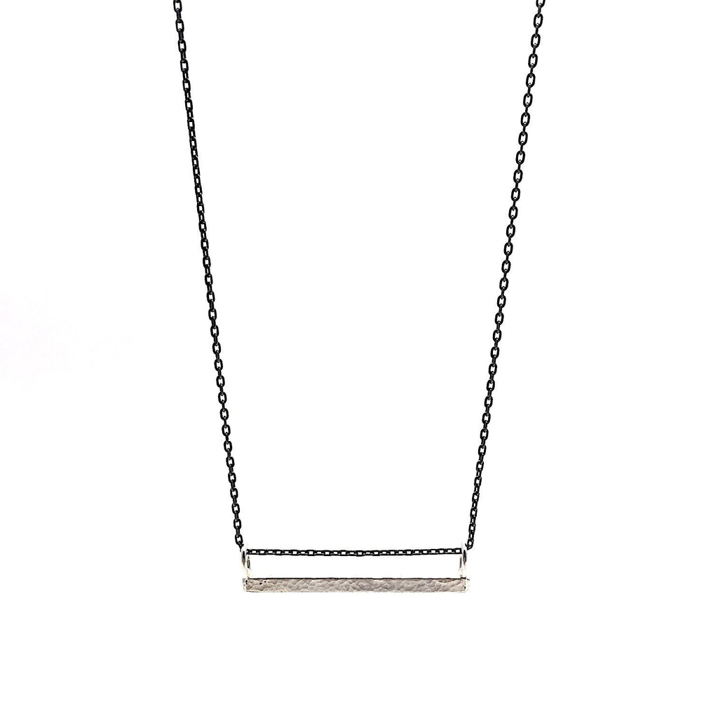 Long Silver Bar Necklace on an Oxidized Chain - Cynabar