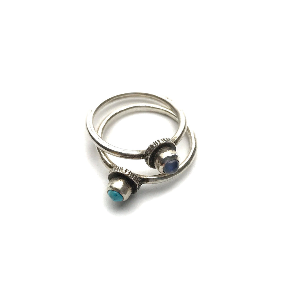 Oxidized Moonstone or Turquoise Stacking Ring - Cynabar Boutique