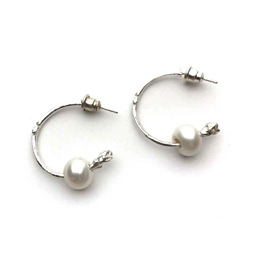 Silver Twig Hoops with Pearl - Cynabar Boutique