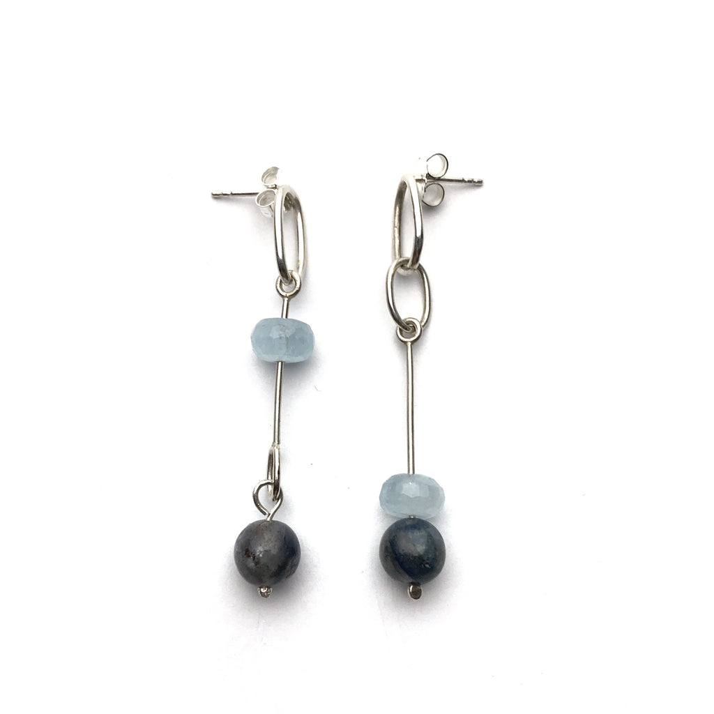Blue bead and silver mismatched stick earring - Cynabar Boutique