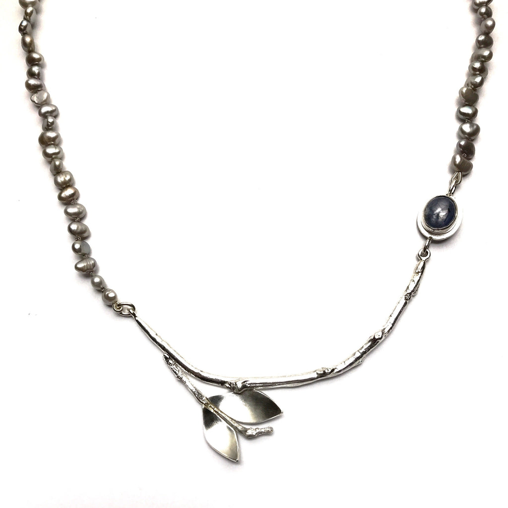 Silver Branch Necklace with Grey pearls and Sapphire - Cynabar Boutique