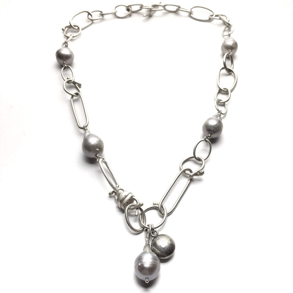 Pale Grey Pearl and Silver Necklace - Cynabar Boutique