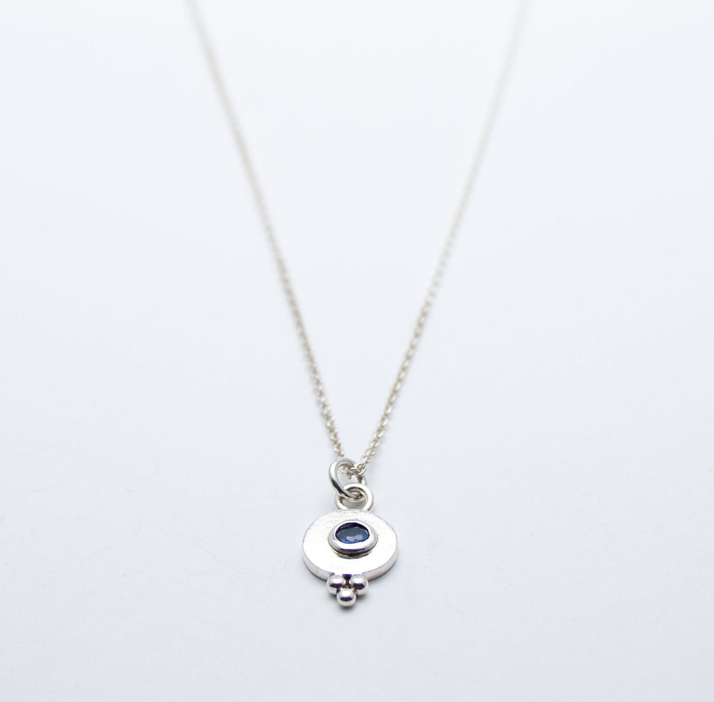 Silver and Sapphire Little Ball Pendant - Cynabar Boutique