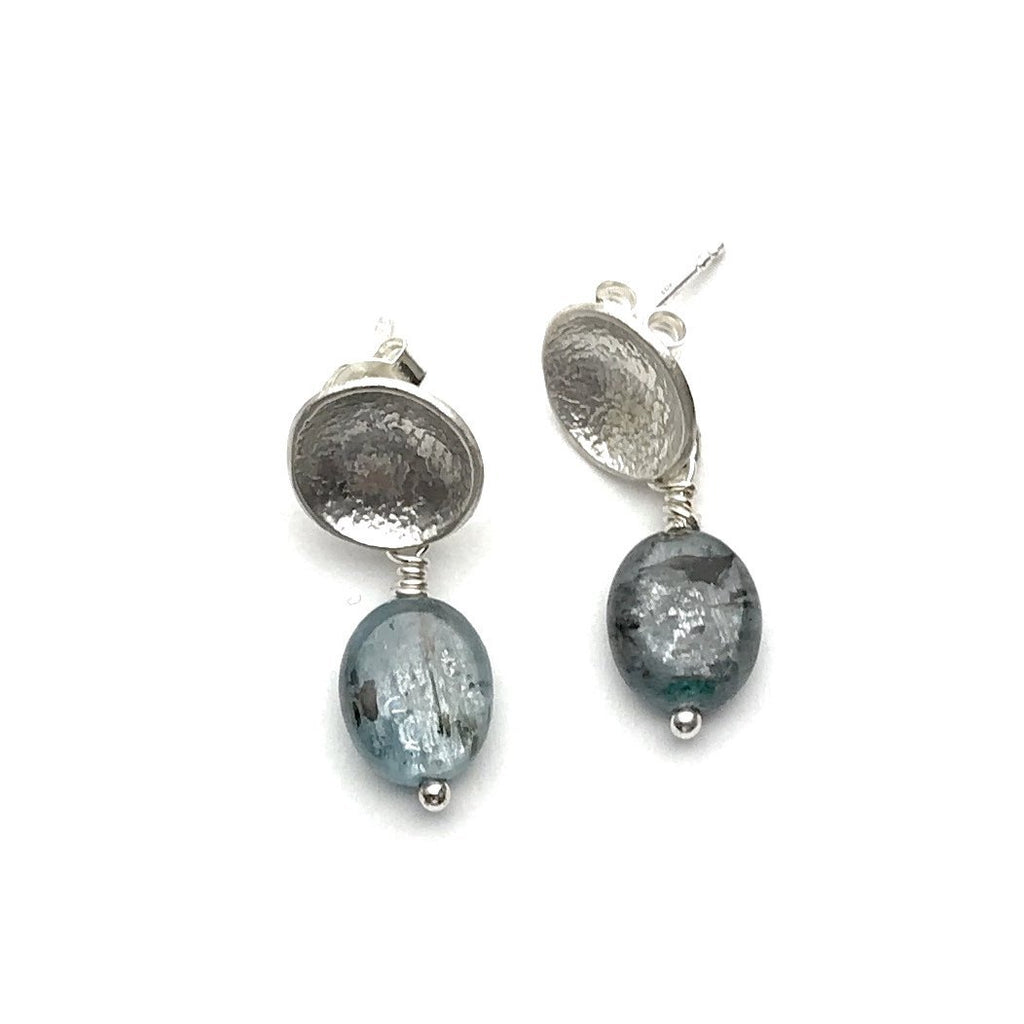 Silver Disc Earrings with Kyanite beads - Cynabar Boutique