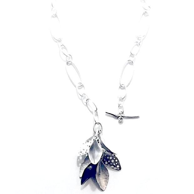 Silver Leaves Pendant with Flower - Cynabar Boutique