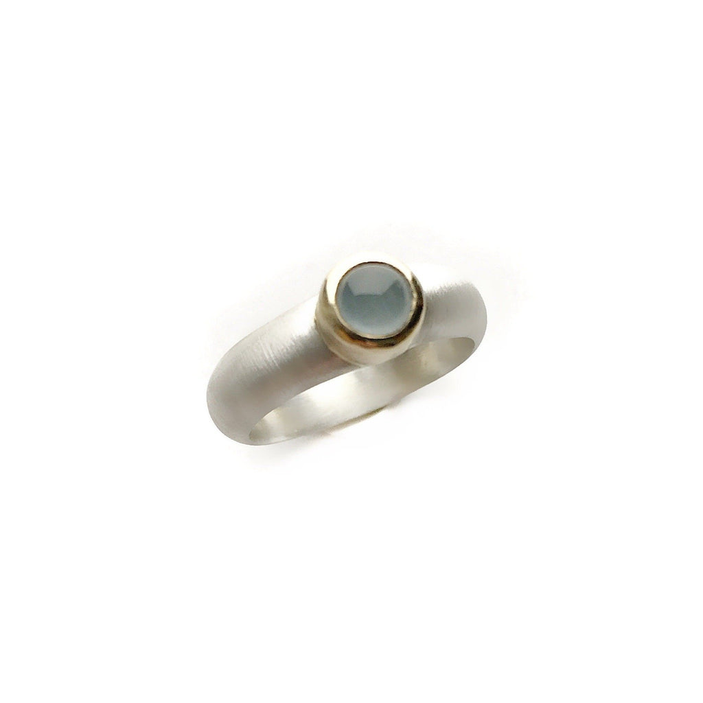 Silver Ring with Aquamarine stone set in 14kt gold - Cynabar