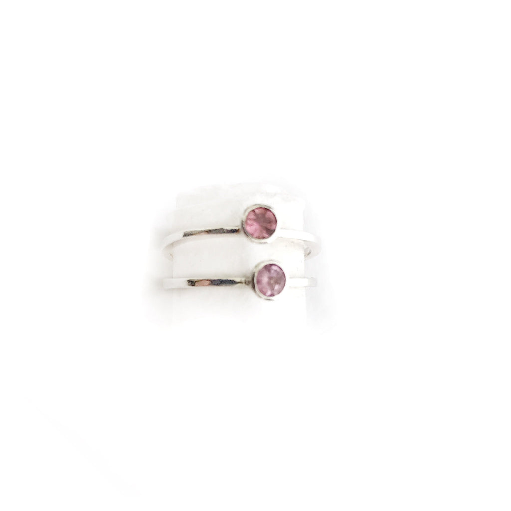 Silver Rings with Pink Tourmaline - Cynabar