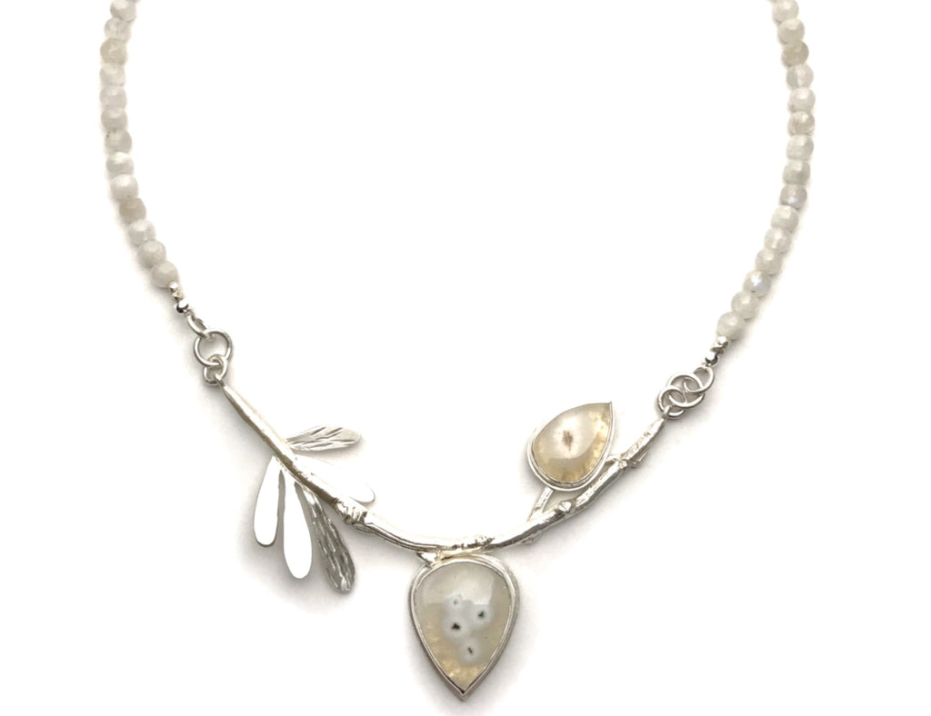 Silver Branch and Moonstone Necklace - Cynabar Boutique