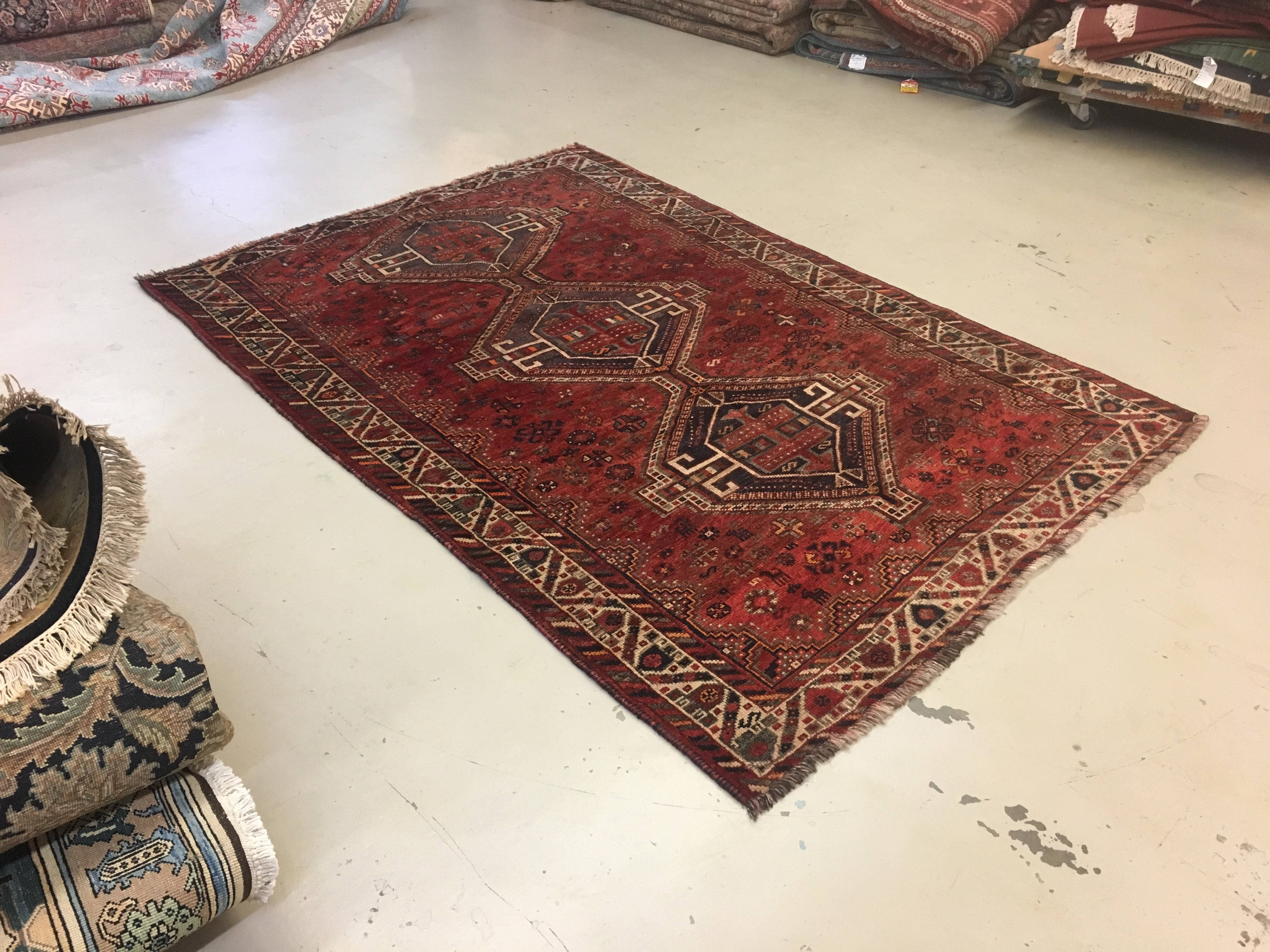 5 X8 Red Grey Geometric Rug The Golden Looms Oriental Rugs