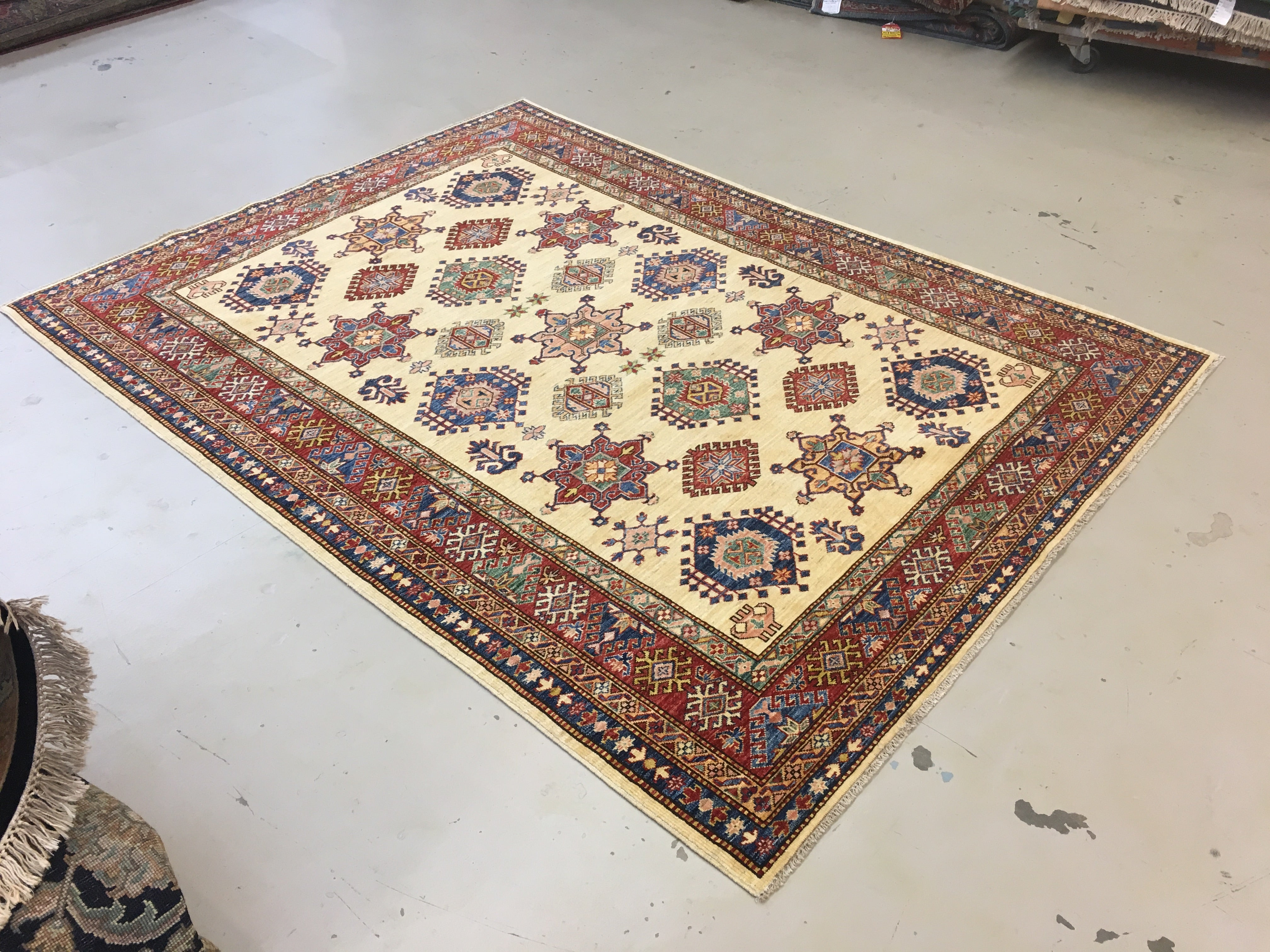 6 X9 Red Blue Geometric Rug The Golden Looms Oriental Rugs