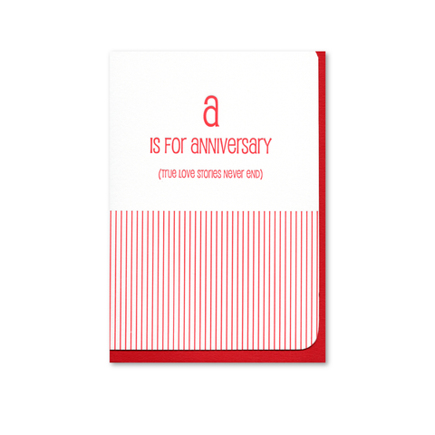 A is for Anniversary Letterpress Card