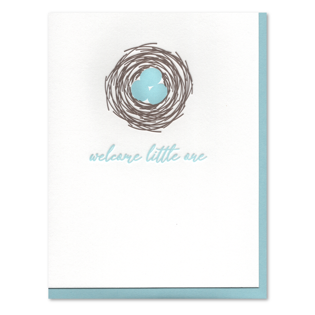 Welcome Little One Nest Letterpress Card