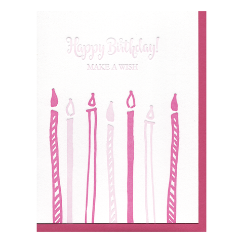 Happy Birthday Candles Letterpress Card