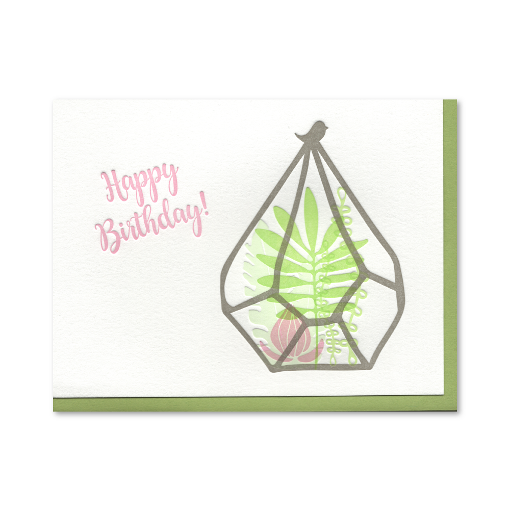 Happy Birthday Terrarium Letterpress Card