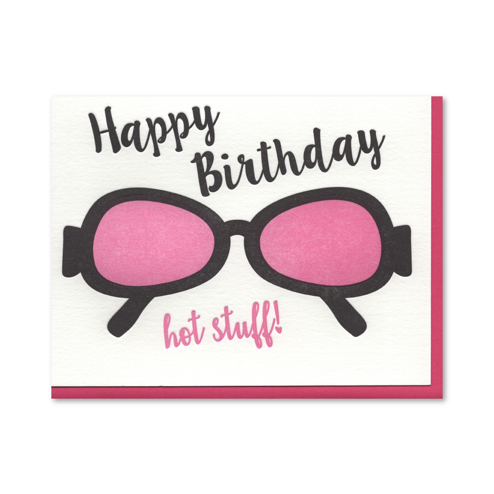 Happy Birthday Sunglasses Letterpress Card
